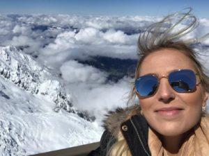 Ana Luisa teve a sensação de abraçar as nuvens em Mont Blanc nos Alpes Franceses